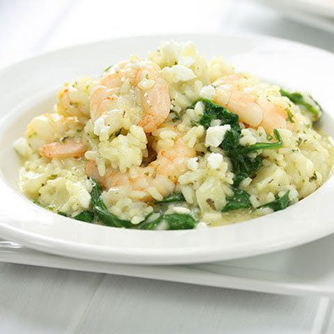 Lemon Garlic Shrimp Risotto with Spinach