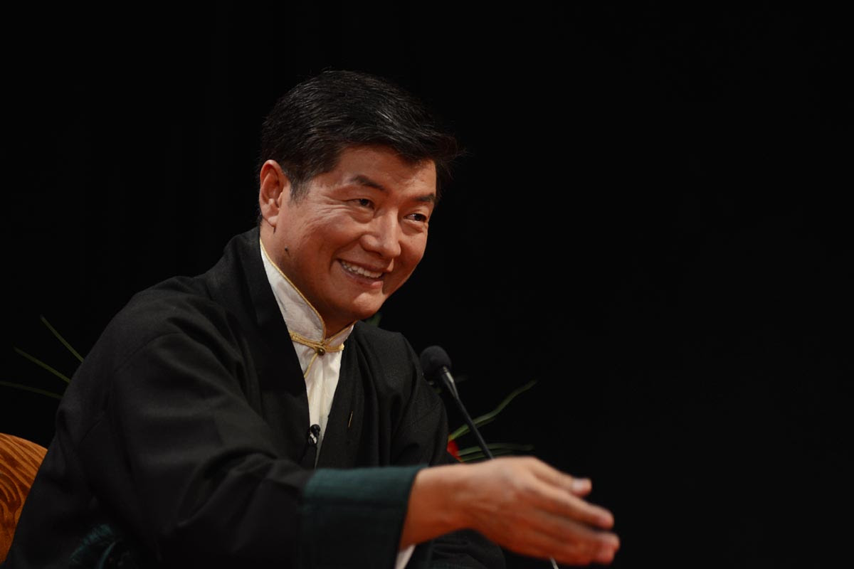 Sikyong Lobsang Sangay speaks during a Sikyong 2016 election debate in McLeod Ganj, India, on 8 March 2016.