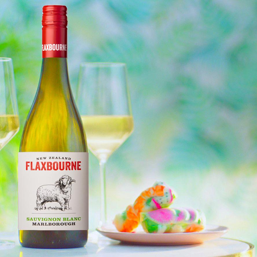 Bottle and glass of Flaxbourne Marlborough Sauvignon Blanc by Yealands Estate 2019