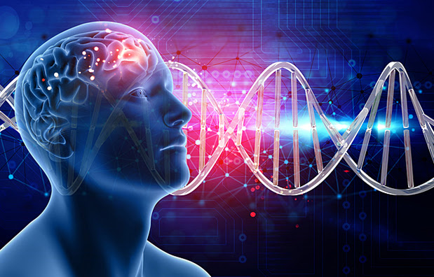 An illustration of a male head and brain with DNA strands in the background.