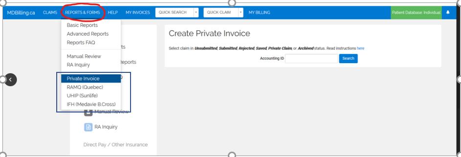 Generate private invoice using MDBilling.ca