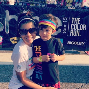 mother and son at the color run