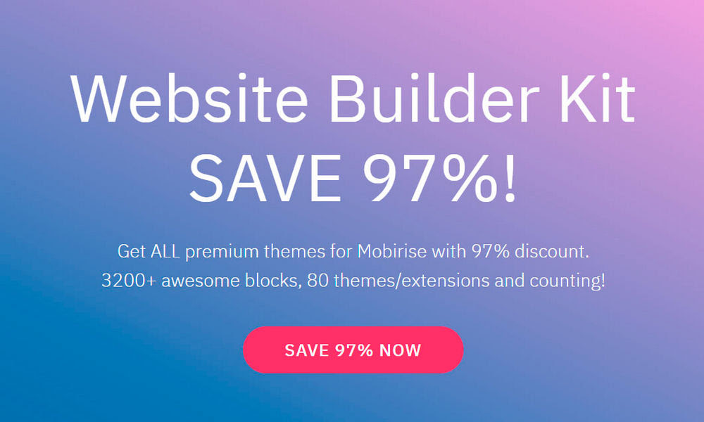 Mobirise Website Builder Kit DFiscoiunt Coupon
