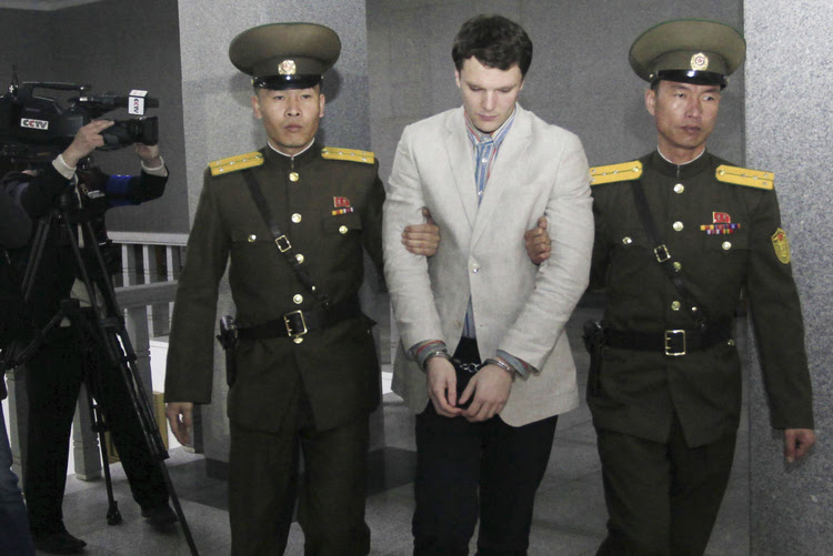 Otto Warmbier at the Supreme Court in Pyongyang. (AP/Jon Chol Jin)</p>