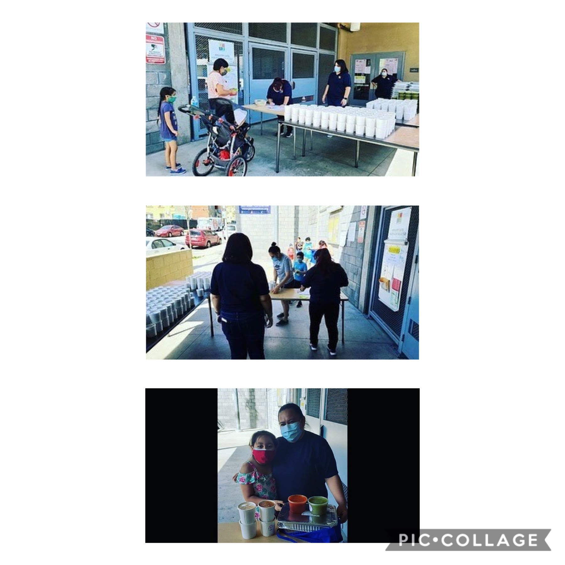 Gratts Elementary receive HomeState Meals in partnership with Para Los Ninos 5-8-2020 COLLAGE 1