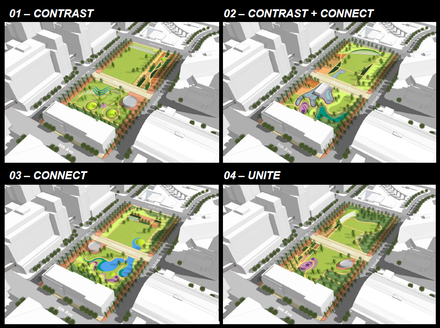 Renderings of the four alternative approaches