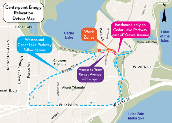 Cedar Lake Parkway in Minneapolis Detour