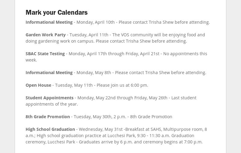 Mark your Calendars