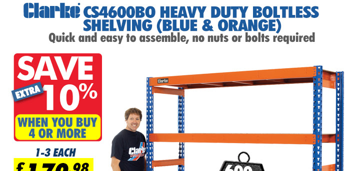 Clarke CS4600BO Heavy Duty Boltless Shelving (Blue and Orange)
