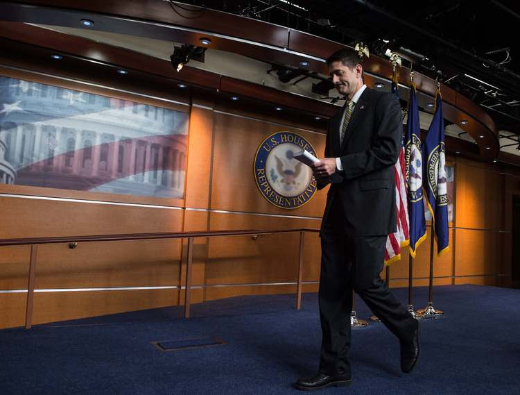 Speaker Paul Ryan leaves his weekly press conference on Capitol Hill. (NicholasKamm/AFP/Getty Images)