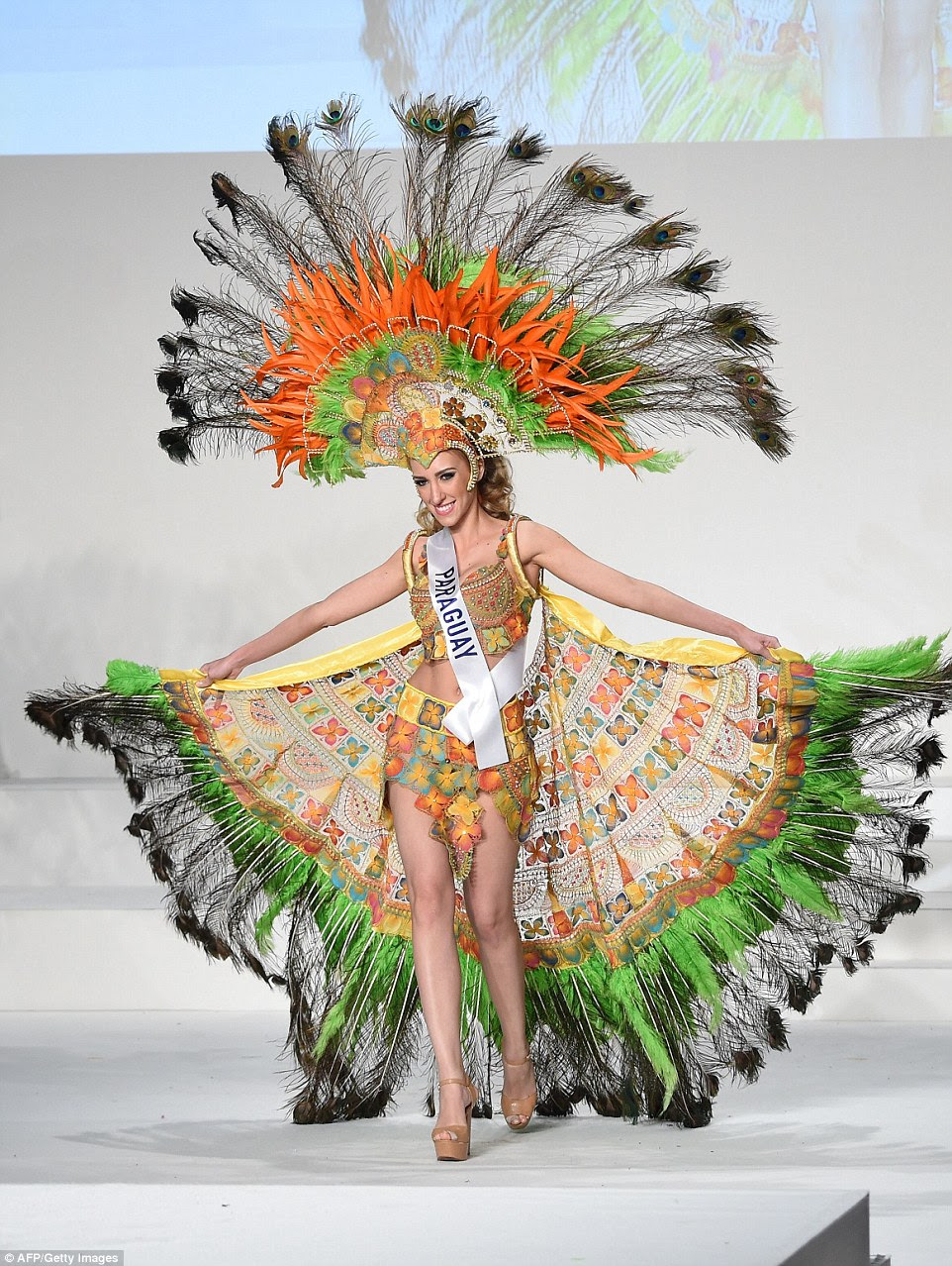 Miss Paraguay Monica Mariani Pascualoto displays her national costume during the Miss International beauty pageant in Tokyo on November 5 2015. Representatives from 70 countries and regions took part in the beauty pageant