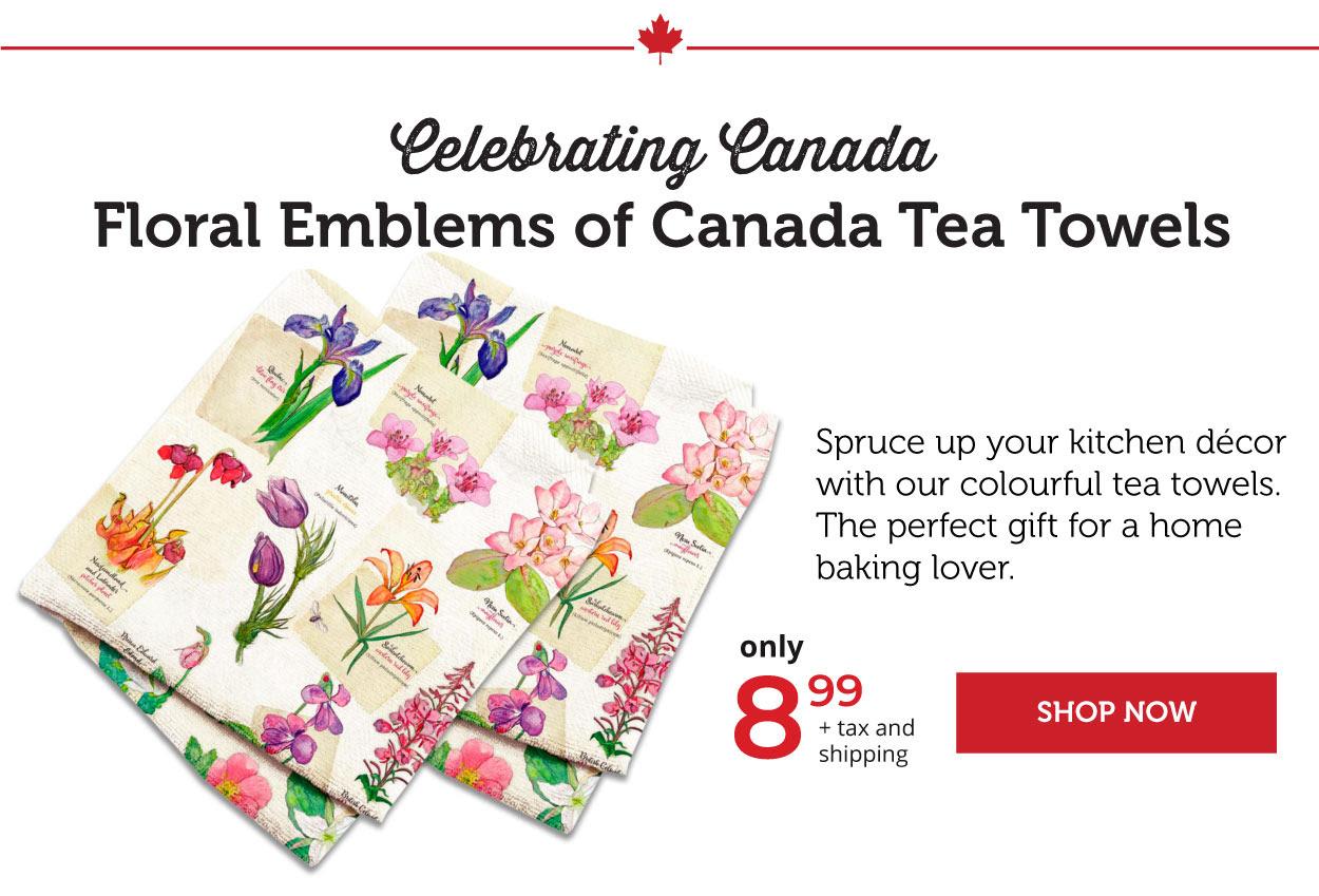 Floral Emblems of Canada Tea towels
