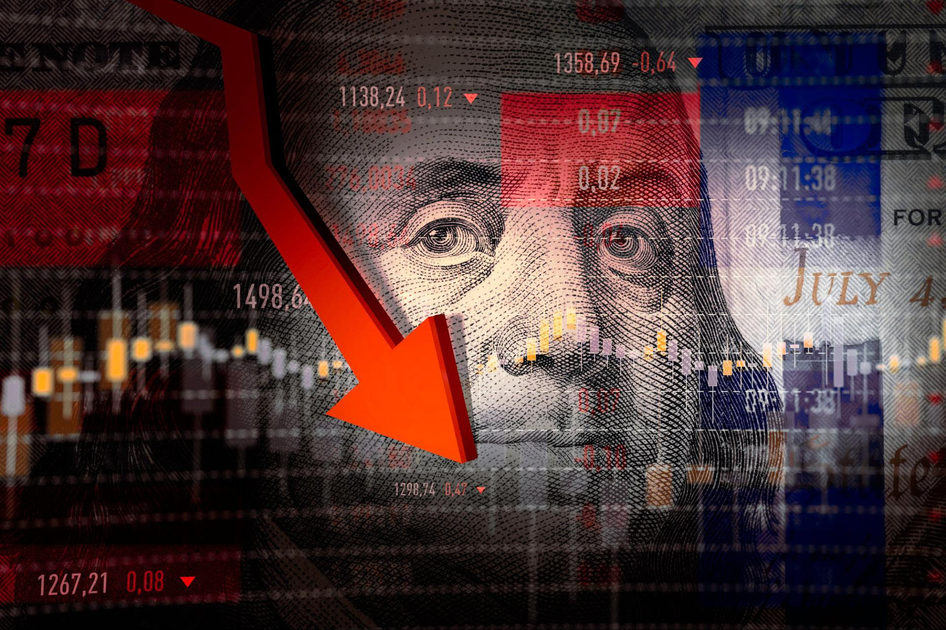 Negative stock charts and graphs overlaid on currency