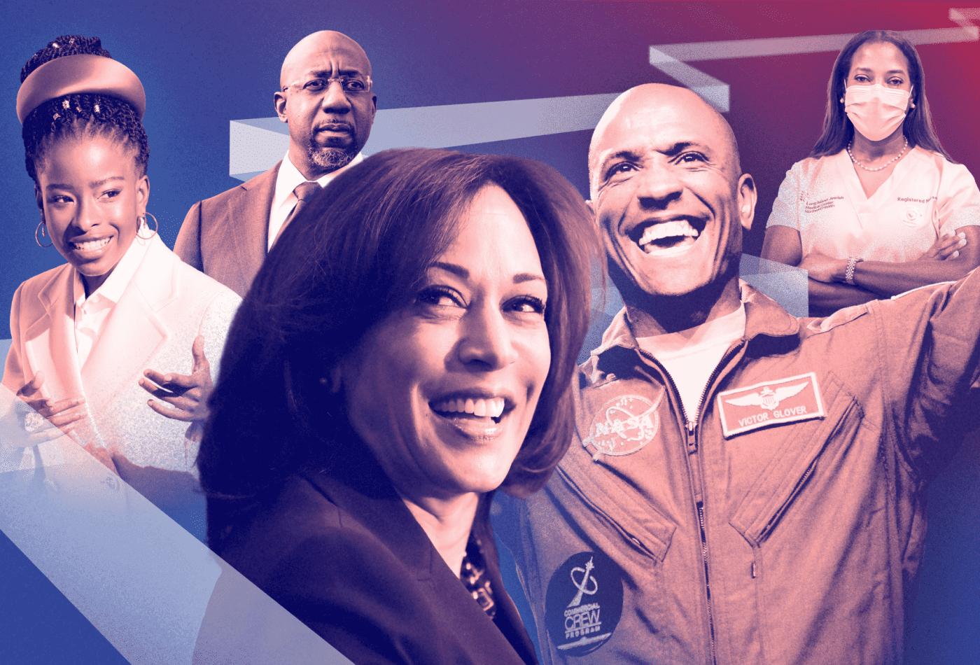 A vice-presidente Kamala Harris, a poetisa Amanda Gorman, o senador Raphael Warnock, a enfermeira Sandra Lindsay e o astronauta da NASA Victor Glover.