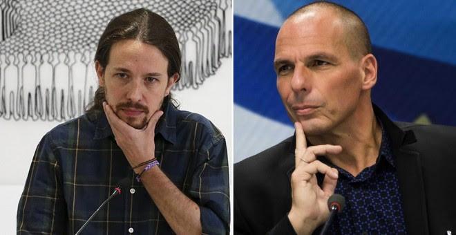 El secretario general de Podemos, Pablo Iglesias (izq) y el exministro griego de Finanzas, Yanni Varoufakis.-REUTERS