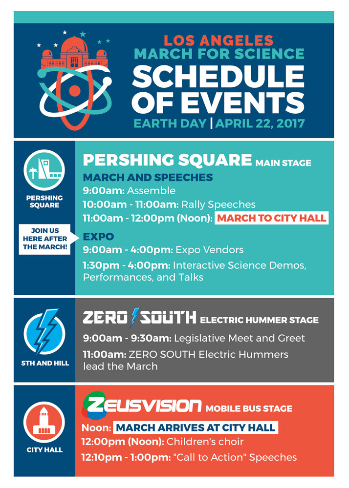 Image of                 the March for Science Los Angeles schedule of events on                 April 22