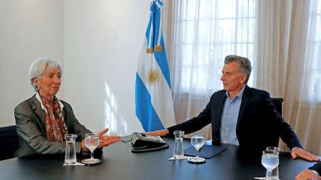 Christine Lagarde, entonces directora del FMI, con el presidente de Argentina, Mauricio Macri, Buenos Aires, 16 de marzo de 2018.