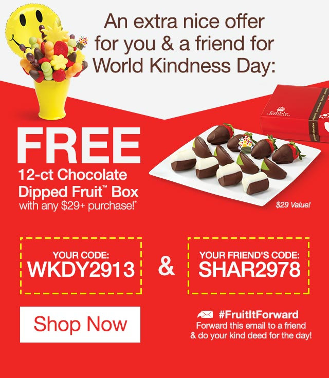 TODAY ONLY: FREE chocolate Dipped Fruit® box! (Now that's nice.)