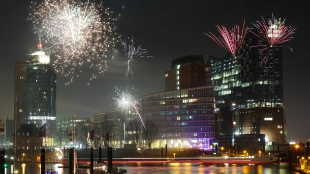 Silvesterfeuerwerk in Hamburg