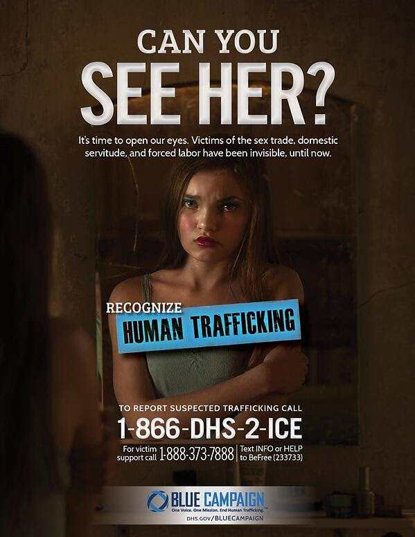 To report suspected human trafficking call 1-866-347-2423