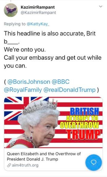 queen trump overthrow tweet