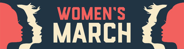 Women's March banner with logo
