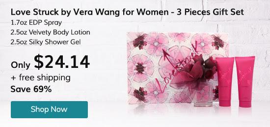 Love Struck by Vera Wang for Women - 3 Pc Gift Set 1.7oz EDP Spray, 2.5oz Velvety Body Lotion, 2.5oz Silky Shower Gel
