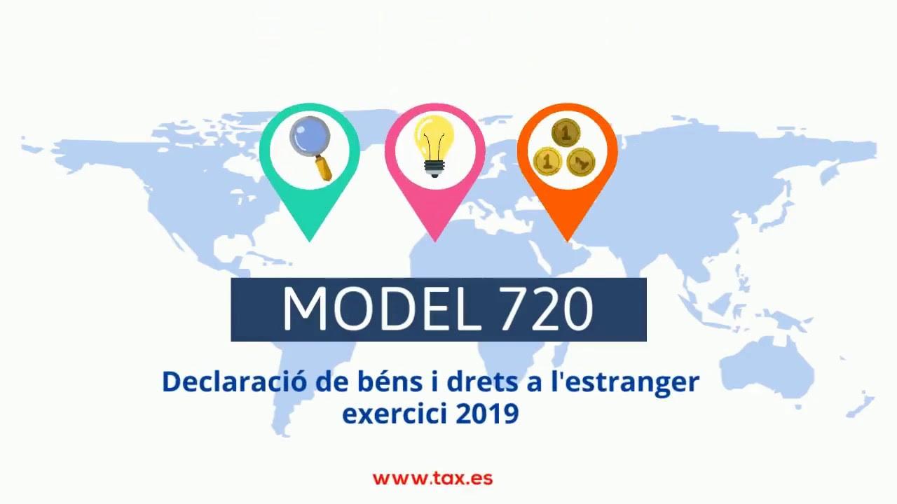 Model 720. Declaració de béns i drets a l'estranger (exercici 2019)