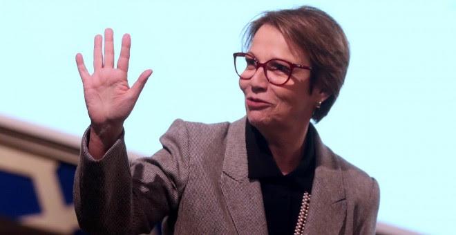 26/08/2019.- La ministra de Agricultura de Brasil, Tereza Cristina Correa, en São Paulo (Brasil). Correa calificó al presidente de Francia, Emmanuel Macron, de 'oportunista', por amenazar con vetar el acuerdo UE-Mercosur, y aseguró que sus críticas a la p