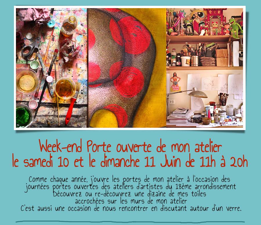 Week-end Porte ouverte de mon atelier le samedi 10 et le dimanche 11 Juin de 11h à 20h