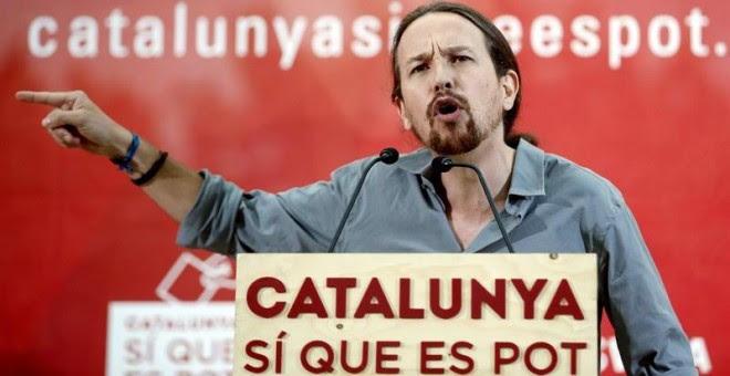 El secretario general de Podemos, Pablo Iglesias, durante su intervención esta tarde en un acto de campaña para el 27S de la candidatura Catalunya sí que es Pot. - EFE
