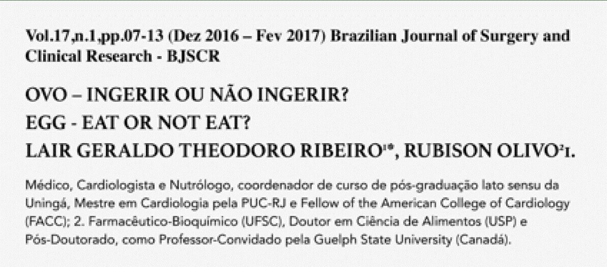 """Print do estudo do Dr. Lair Ribeiro """"Ovo - ingerir ou não ingerir"""""""