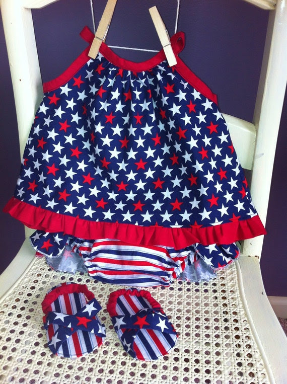 Baby Girl Patriotic Gift Set - open back top, ruffle bloomers, sandals