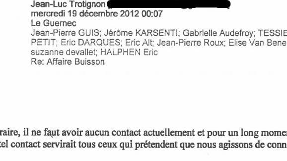 Un e-mail de Jean-Luc Trotignon adressé à plusieurs membres de l'association Anticor, daté du 19 décembre 2012.