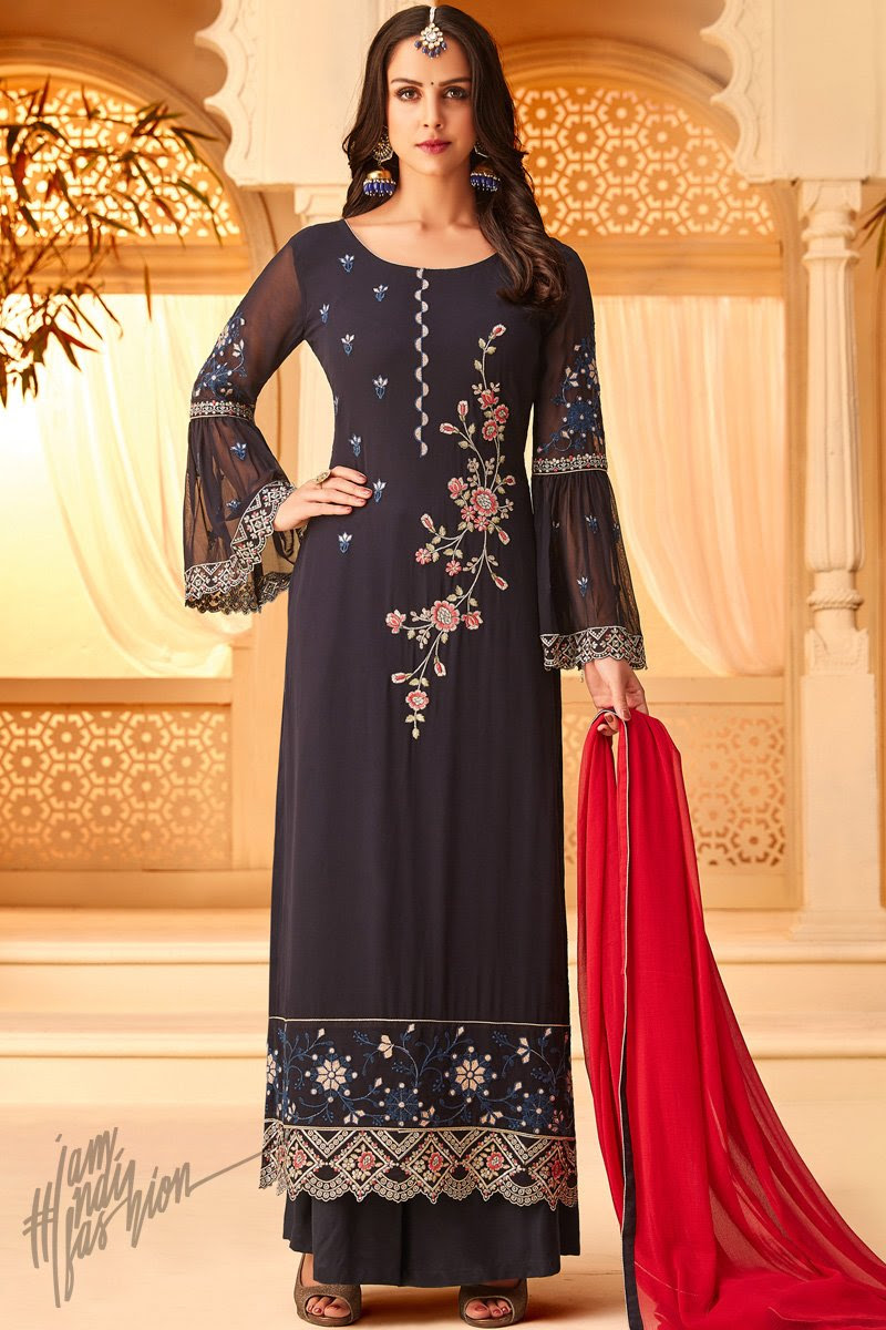 Ink Blue and Red Georgette Party Wear Palazzo Suit