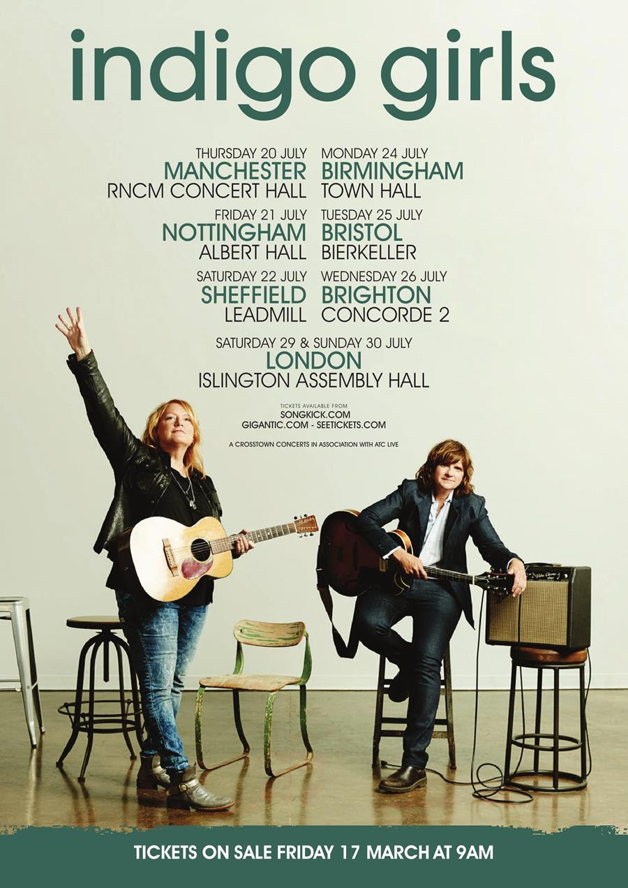 indigo girls tour poster uk dates live july 2017 folk festival