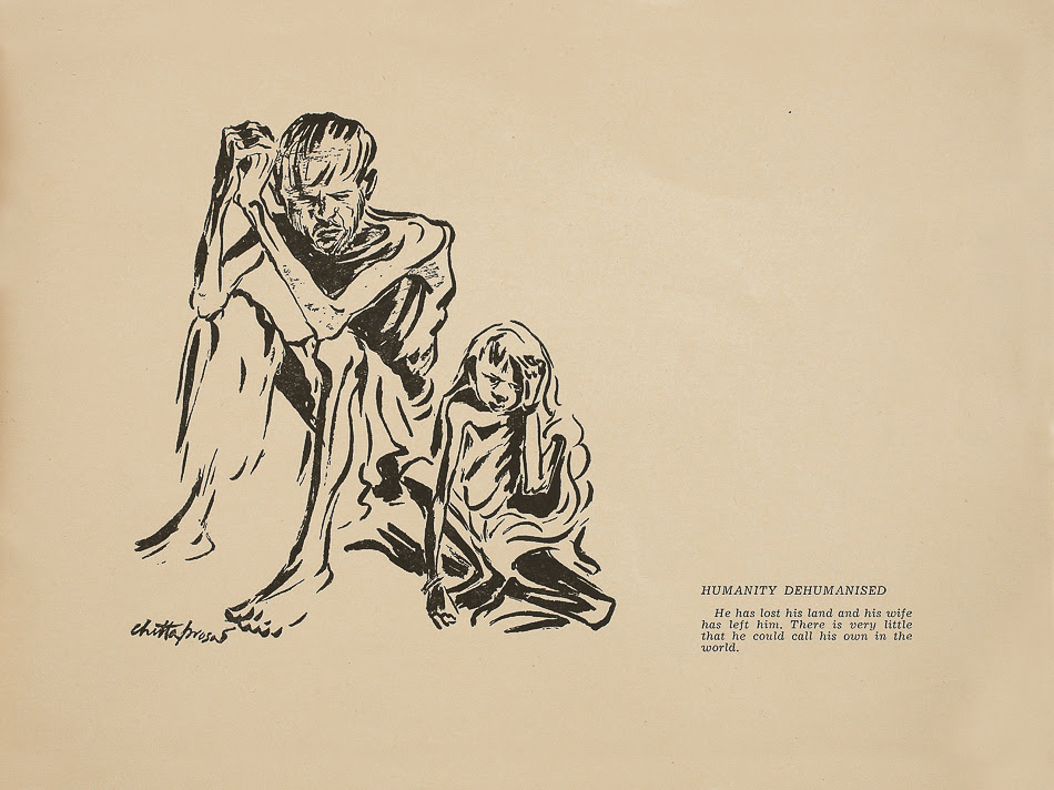 Caption: A page from Hungry Bengal (1945) by Chittaprosad. Copies of the book were seized and burnt by the British; this drawing is from the only surviving copy (reprinted in facsimile by DAG Modern, New Delhi, 2011). Chittaprosad's drawings on the Bengal Famine were published in the Communist Party of India's journal People's War, helping to intensify popular anger against the British colonial regime.