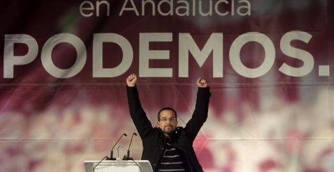 El secretario de Organización de Podemos, Sergio Pascual, durante su intervención en un acto de la campaña electoral andaluza. EFE/A.Carrasco Ragel.