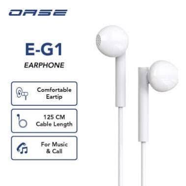 OASE Wired Earphone Headset Handsfree Cable Length 125 cm Garansi Resmi 6 Bulan E-G1