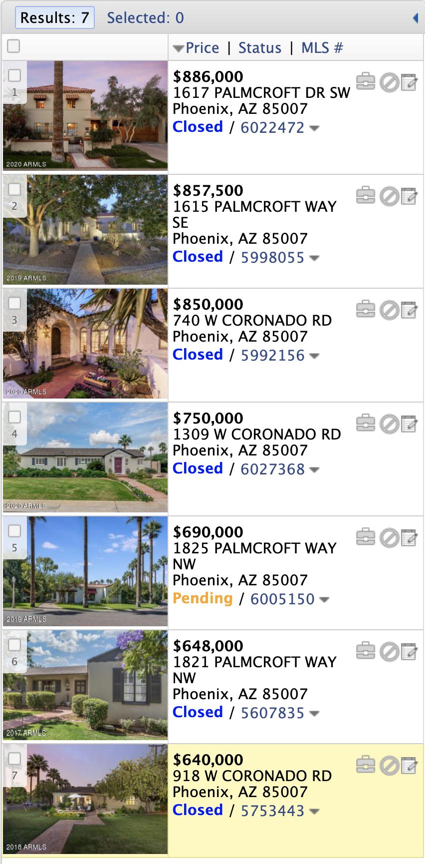 1817 Palmcroft Way NE Phoenix, AZ 85007 comps list
