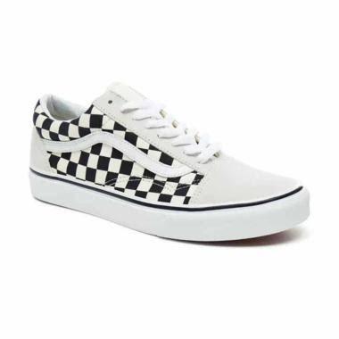 Vans UA Old Skool Checkerboard Sepatu Sneakers Pria - White/Black [VN0A38G127K]