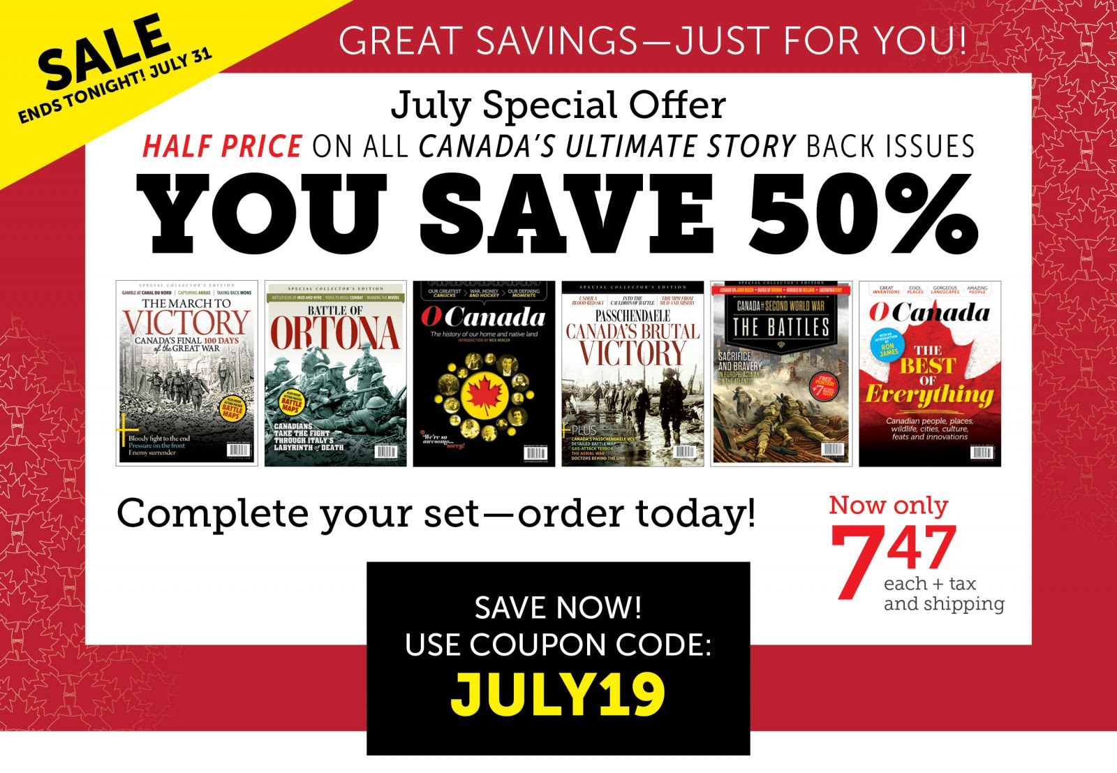 July Special Offer - Save 50% OFF