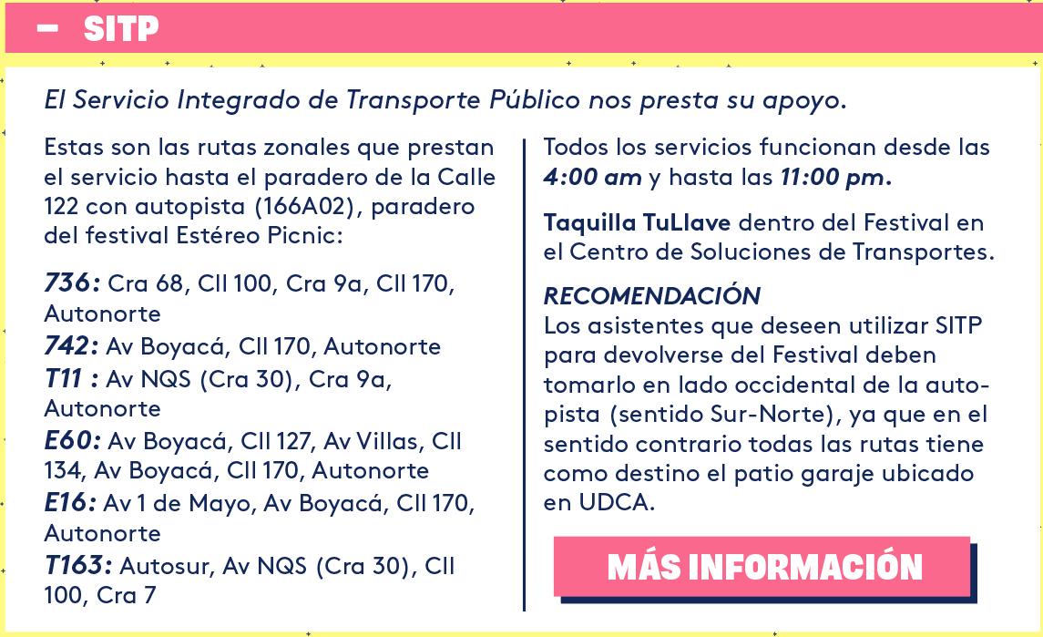 OPCIONES DE TRANSPORTE PARA EL FESTIVAL ESTEREO PICNIC 2017