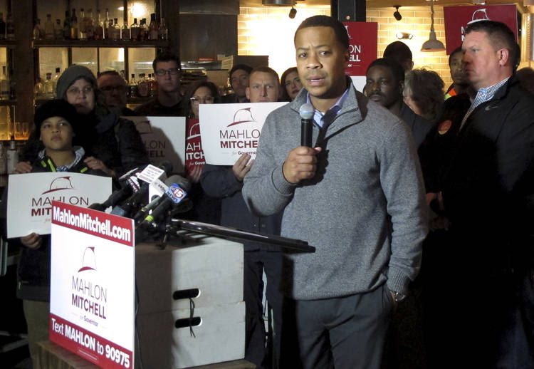 Democrat Mahlon Mitchell, president of the Wisconsin firefighters union, announces his candidacy for governor on Monday in Madison. (Scott Bauer/Associated Press)