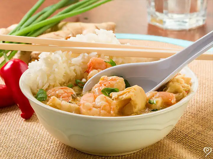 Thai Coconut Shrimp over Jasmine Rice