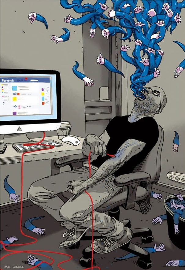 Satirical Illustrations Addiction to Technology10