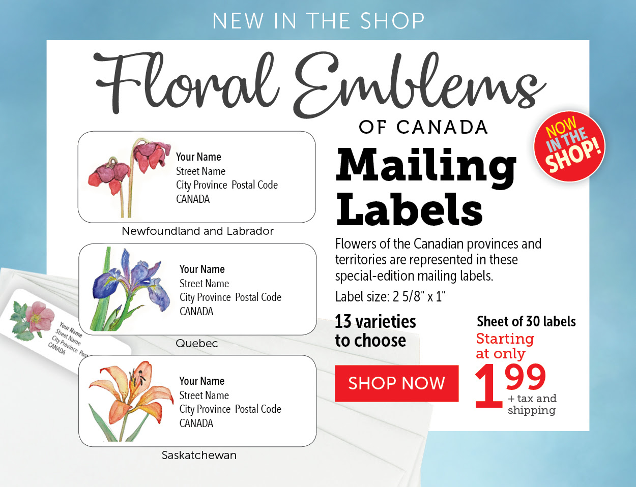 Floral Emblems of Canada Mailing Labels