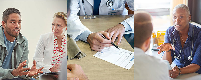 Photography images of mental and behavioral health care providers interacting with patients.