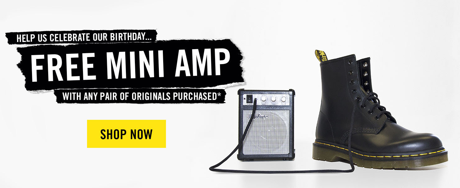 Help us celebrate our birthday, free mini amp with any pair of Originals purchased* - Shop now