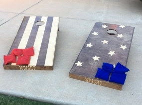 MADE TO ORDER Wood Cornhole Boards - Stars & Stripes Stained - Tx Shipping Only